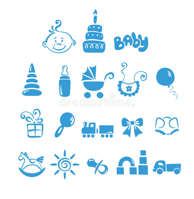 Free Set Of Icons - Baby Boy Royalty Free Stock Images - 15389329
