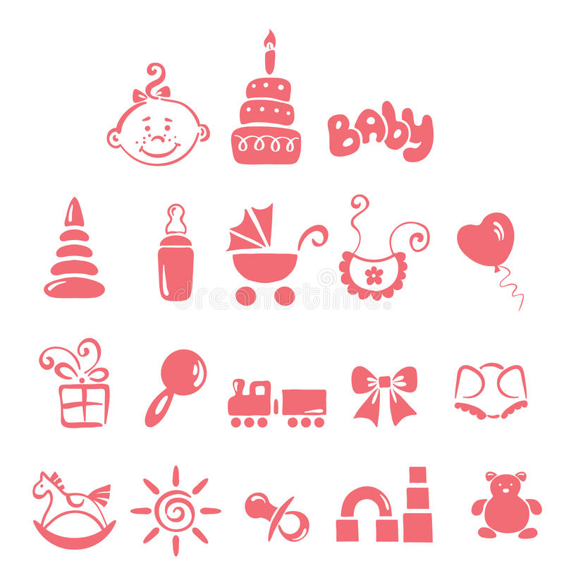 Free Set Of Icons - Baby Girl Stock Image - 15369751