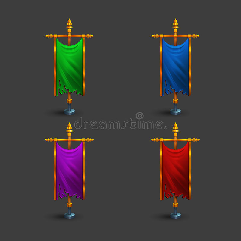 Free Set Of Icons Of Multicolored Medieval Vertical Flag With Flagpole For Game. Royalty Free Stock Images - 92792179