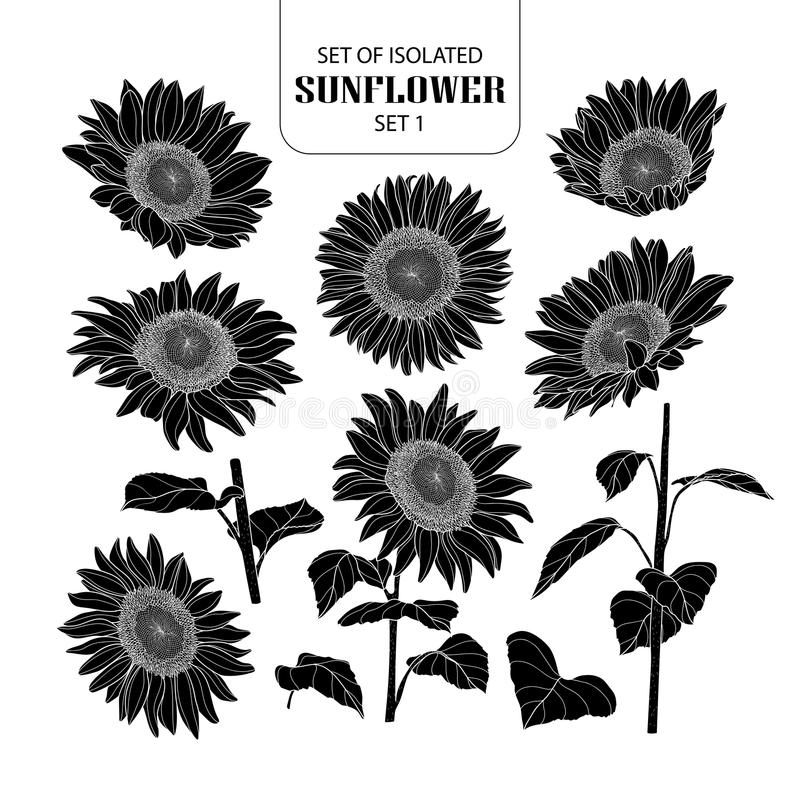 Free Set Of Isolated Silhouette Sunflower Set 1. Stock Photos - 115520043