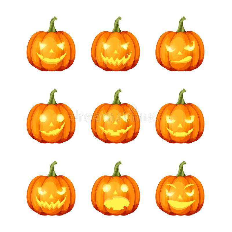 Free Set Of Jack-o`-lanterns Halloween Pumpkins. Vector Eps-10. Royalty Free Stock Photos - 102447808