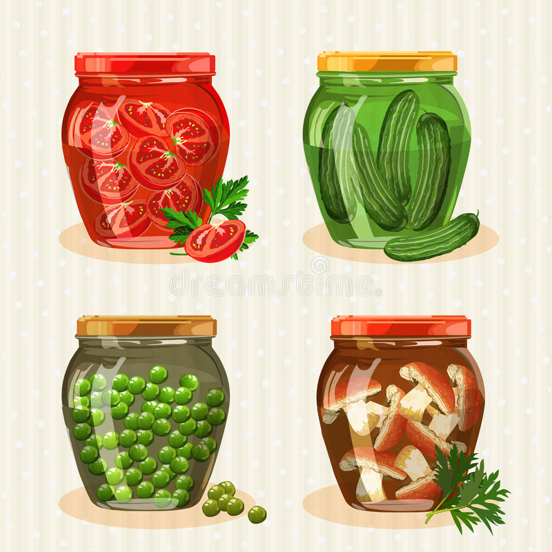 Free Set Of Jars With Vegetables. Royalty Free Stock Images - 47665369