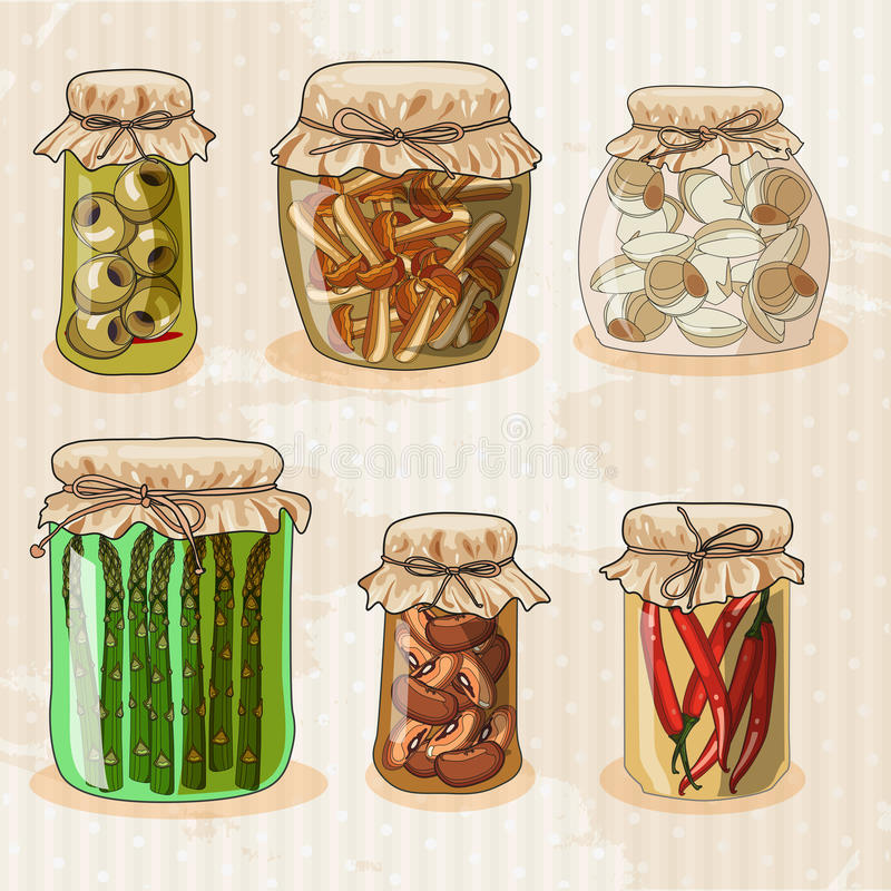 Free Set Of Jars With Vegetables. Stock Images - 47665604
