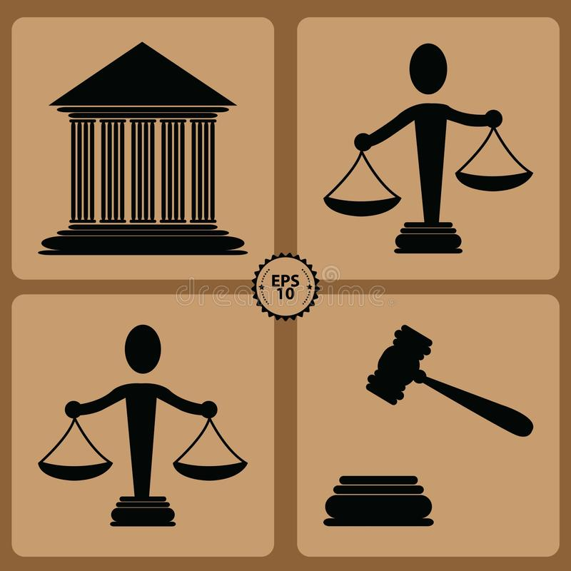Free Set Of Law And Justice Labels Stock Photos - 68932563