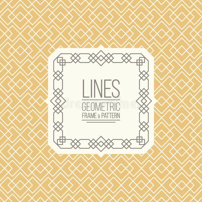 Free Set Of Line Pattern And Linear Frame Royalty Free Stock Photos - 62342788