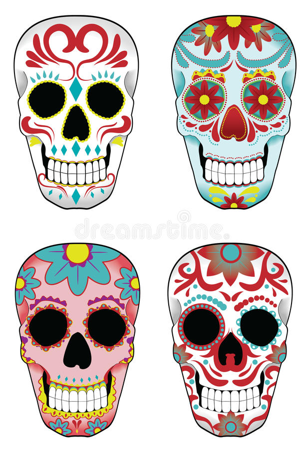 Free Set Of Mexican Sugar Skulls Stock Images - 19325434