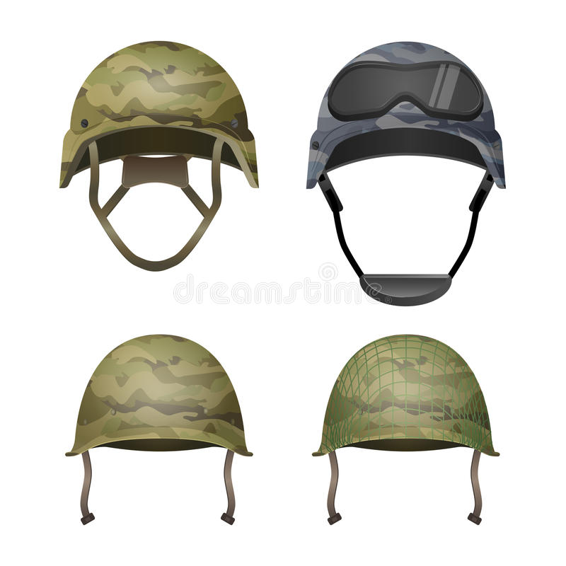 Free Set Of Military Camouflage Helmets In Khaki Camo Colors Royalty Free Stock Photography - 83175817