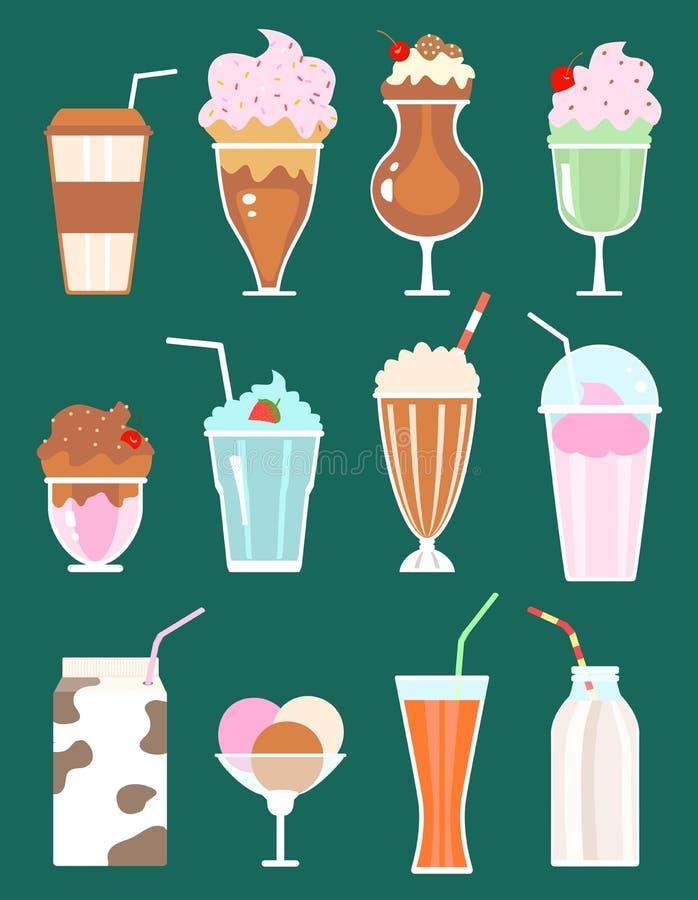 Free Set Of Milkshakes With Berries, Milk Beverages, Ice Cream Royalty Free Stock Images - 67631299