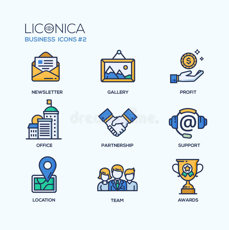 Free Set Of Modern Office Thin Line Flat Design Icons Royalty Free Stock Images - 63459869