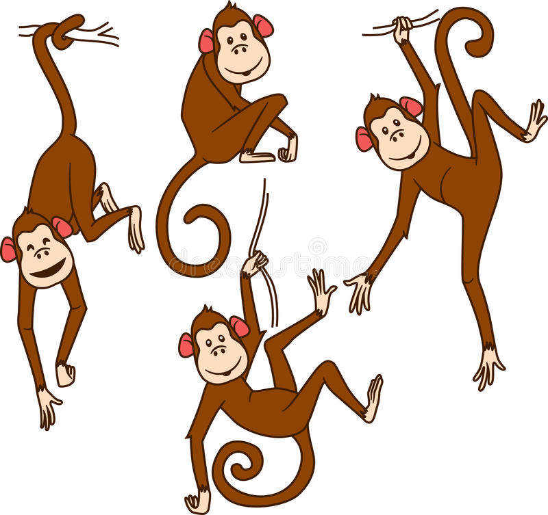 Free Set Of Monkeys In Different Poses Royalty Free Stock Photography - 59356847