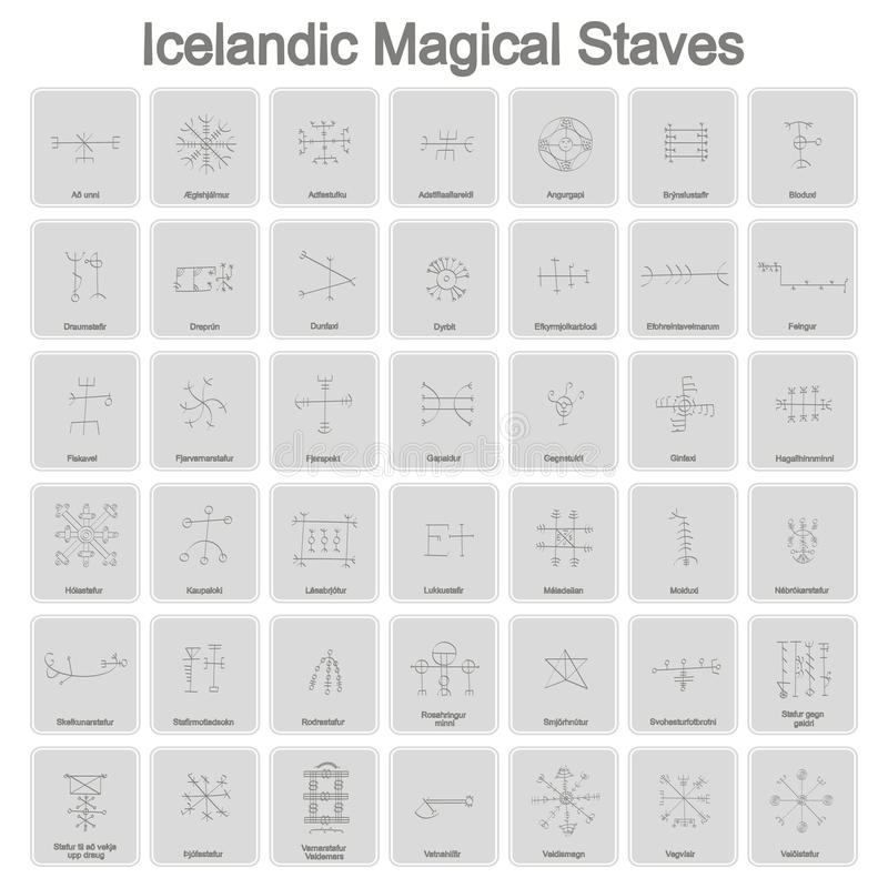 Free Set Of Monochrome Icons With Icelandic Magical Symbols Royalty Free Stock Images - 93334119