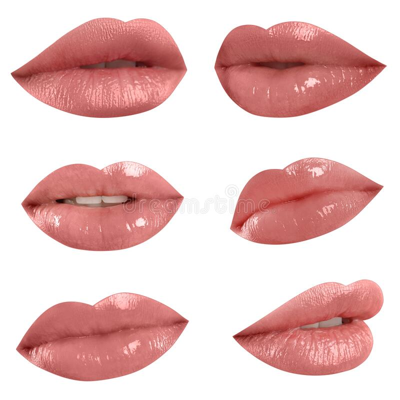 Free Set Of Mouths With Beautiful Makeup On Background. Glossy Pink Lipstick Royalty Free Stock Images - 184751099