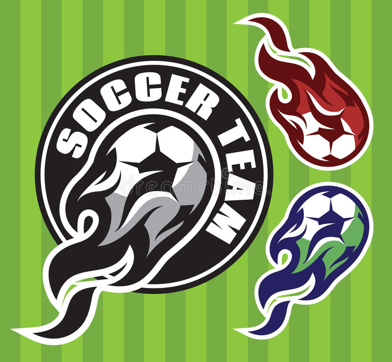 Free Set Of Multi-colored Patterns For Team Sports With Soccer Flying Ball Royalty Free Stock Images - 81744709