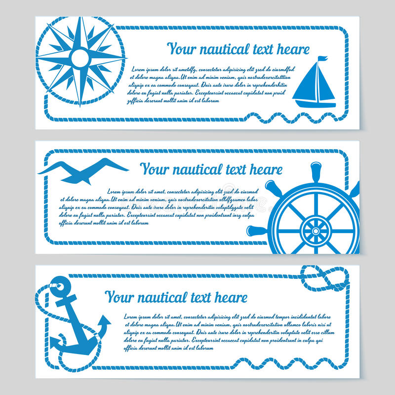 Free Set Of Nautical Themed Banners Royalty Free Stock Photography - 40422807