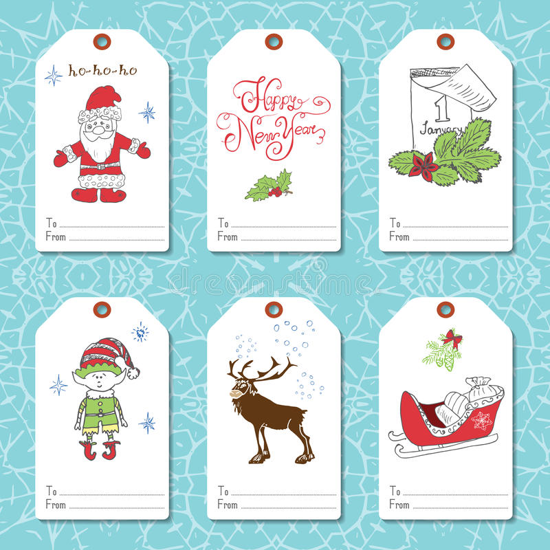 Free Set Of New Year Gift Tags Vector Template, Hand Drawn Sketch Elements With Lettering Set. Present Cards Design Of Happy New Year 2 Stock Photography - 59784762