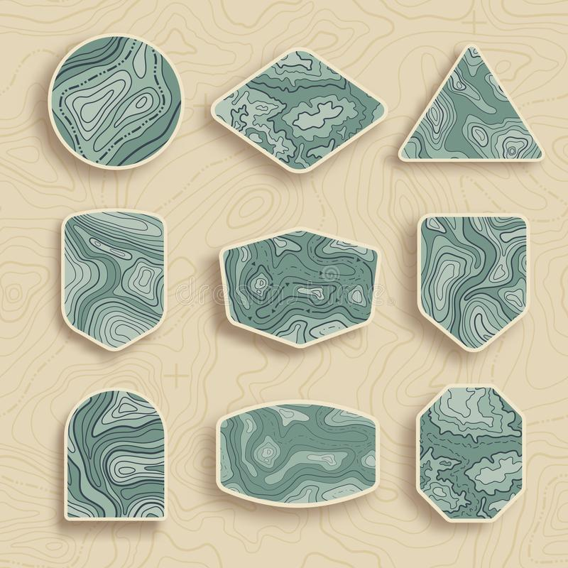 Free Set Of Nine Empty Topographic Map Travel Emblems. Outdoor Adventure Emblems, Badges And Logo Patches. Map Pattern With Stock Images - 123593684