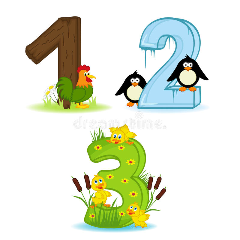 Free Set Of Numbers With Number Of Animals From 1 To 3 Royalty Free Stock Images - 69888939