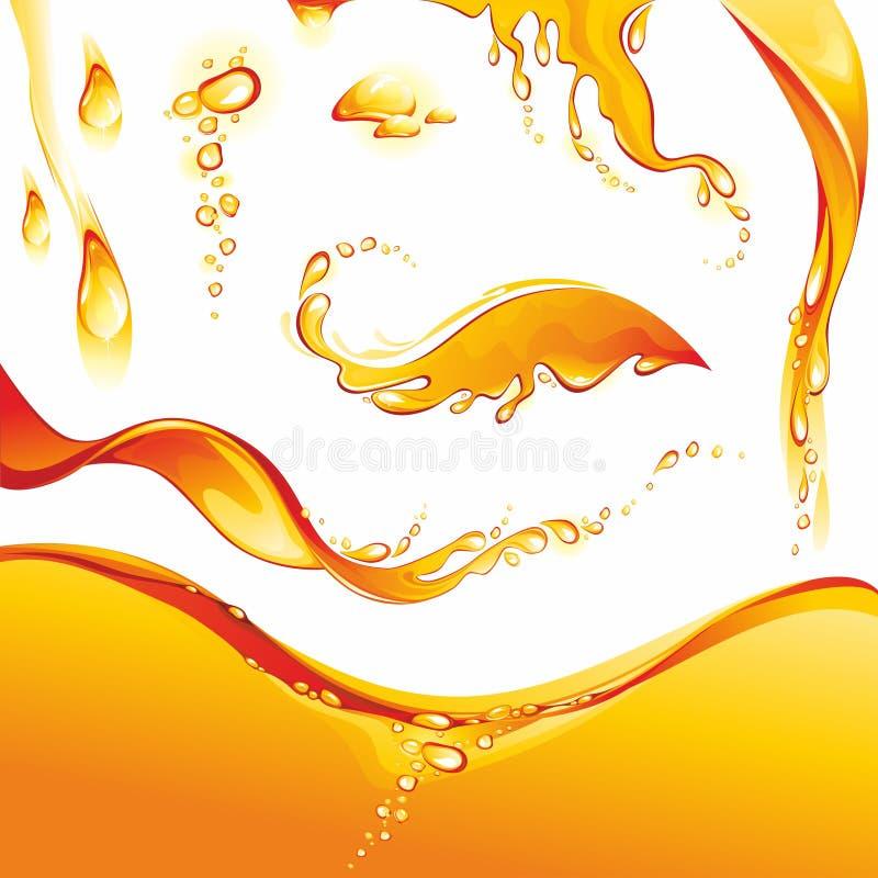 Free Set Of Orange Water Splashes Royalty Free Stock Image - 27997956