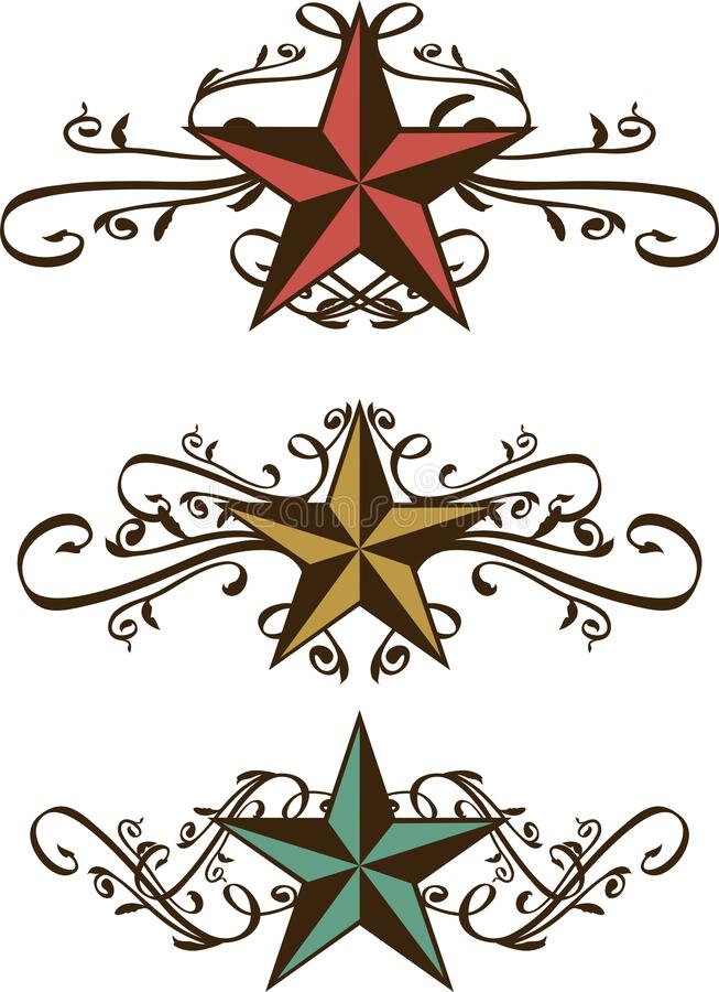 Free Set Of Ornate Western Stars Royalty Free Stock Photography - 20136837