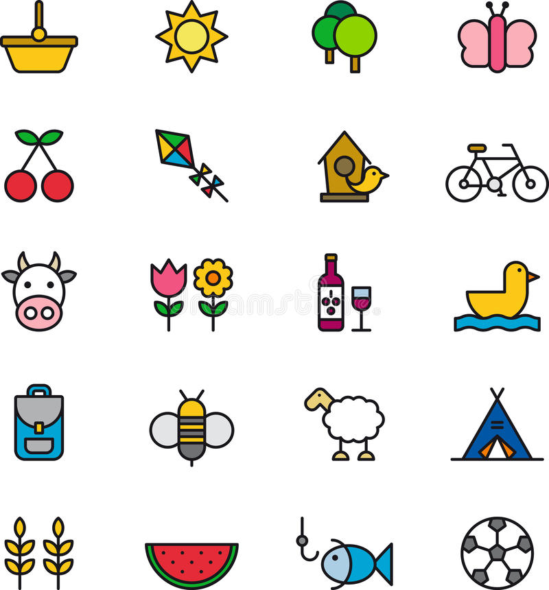 Free Set Of Outdoor Activity Icons Stock Images - 41787134