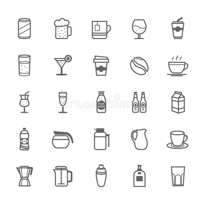 Free Set Of Outline Stroke Beverage Icon Royalty Free Stock Image - 40564496