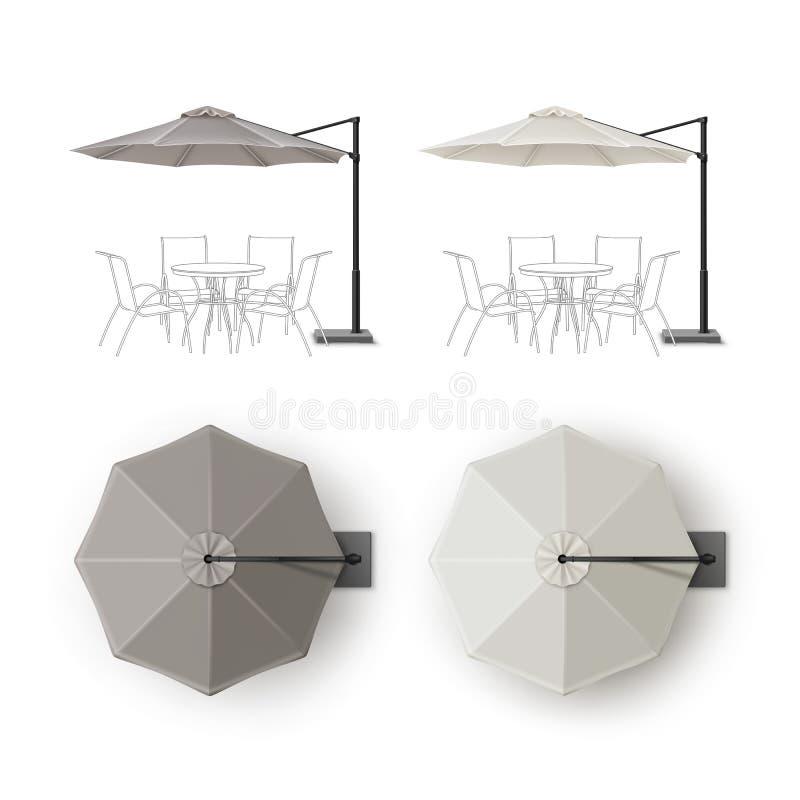 Free Set Of Patio Outdoor Restaurant Round Umbrella Stock Image - 81518031