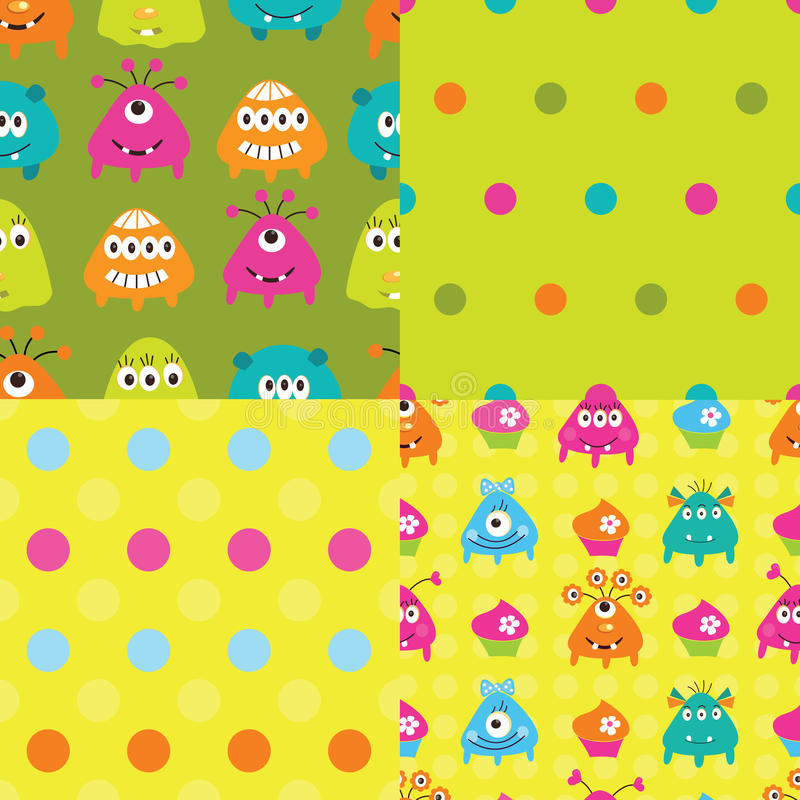 Free Set Of Patterns With Monsters Royalty Free Stock Images - 36936659