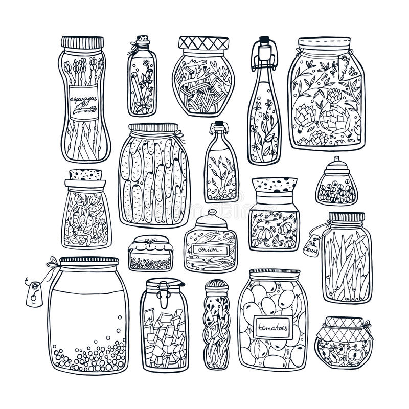 Free Set Of Pickled Jars With Vegetables, Fruits, Herbs And Berries On Shelves. Autumn Marinated Food. Contour Illustration. Royalty Free Stock Photography - 87982687