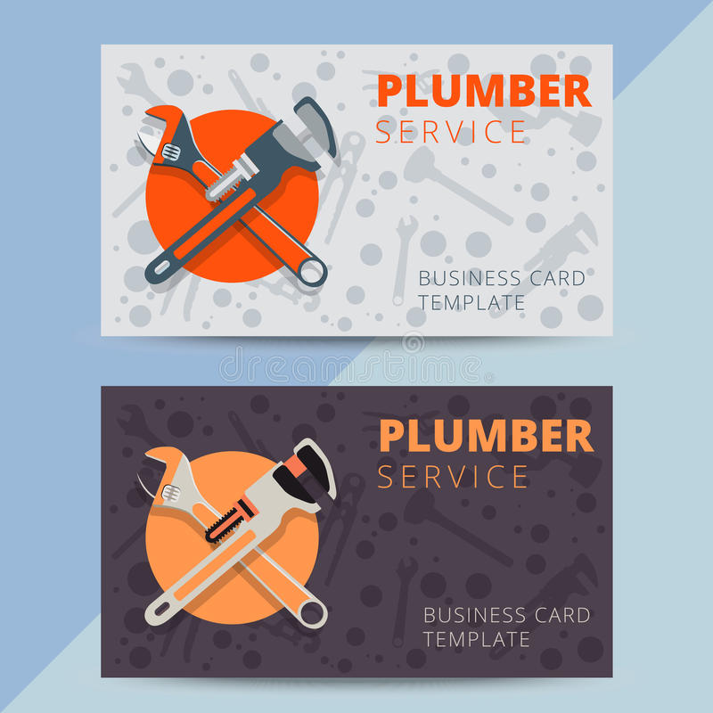 Free Set Of Professional Plumbing Service Business Card Templates. Ve Royalty Free Stock Photos - 76230898