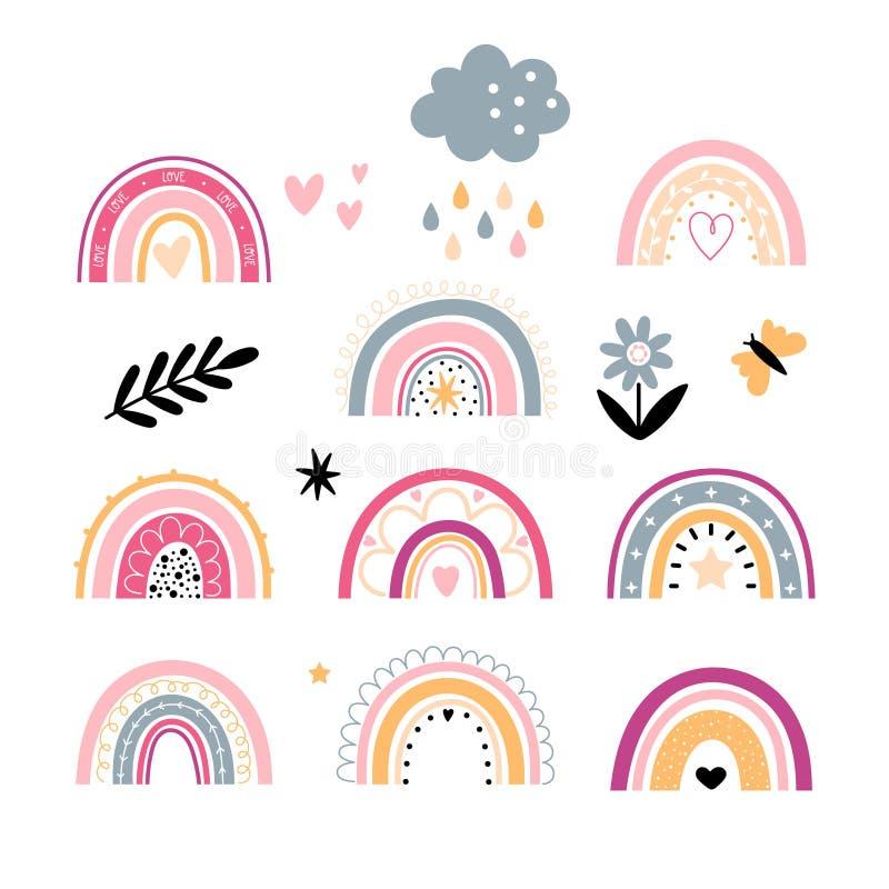 Free Set Of Rainbows Childish Style Royalty Free Stock Photos - 217059778