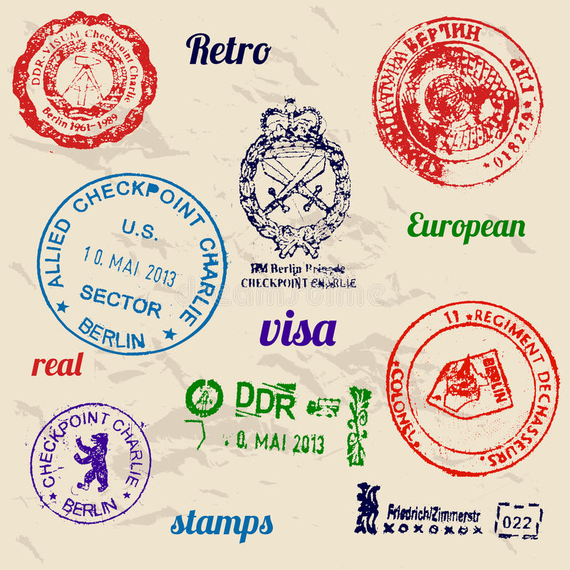 Free Set Of Real Stamps From Berlin Wall. Stock Photography - 32292192