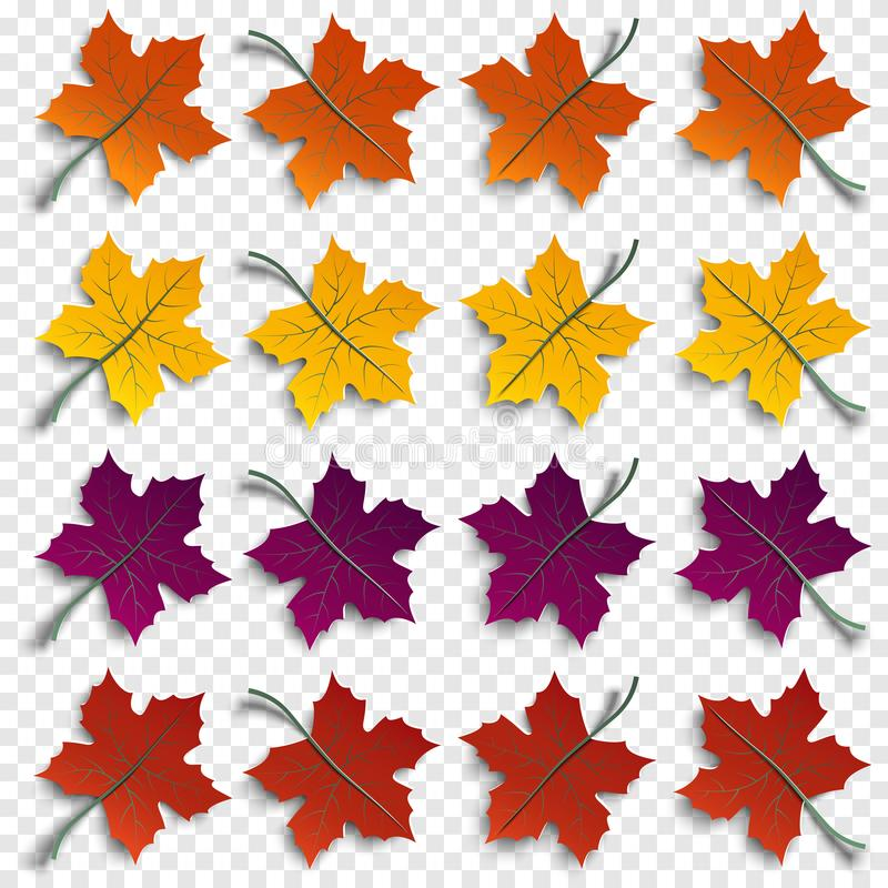 Free Set Of Realistic Autumnal Paper Cut Tree Leaves With Shadows Isolated On Transparent Background, Design Elements For Autumn Season Stock Photos - 100395003