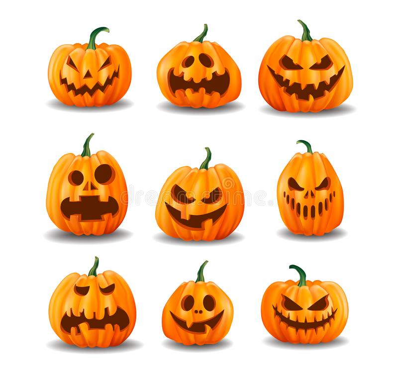 Free Set Of Realistic Halloween Pumpkins Isolated On White Background Stock Photo - 127979250