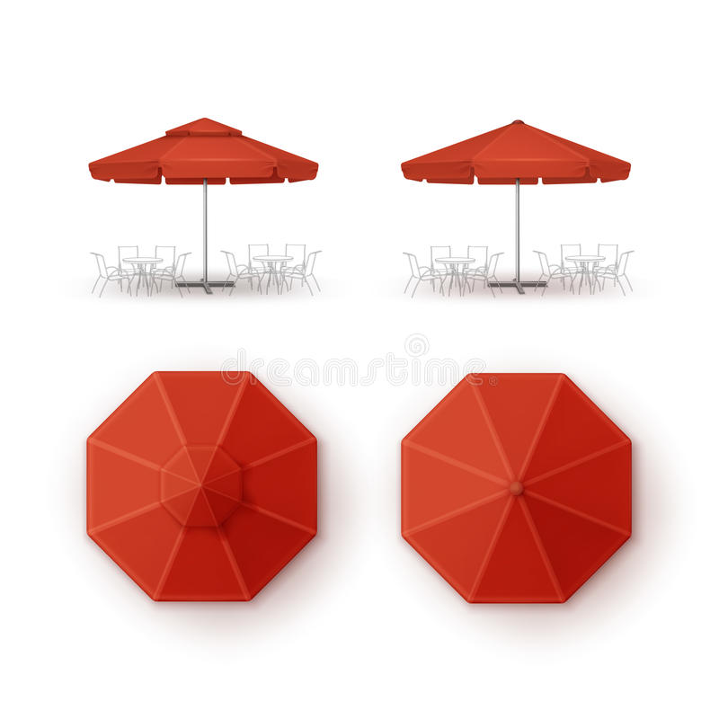 Free Set Of Red Patio Outdoor Beach Cafe Restaurant Round Umbrella For Branding Top Side View Mock Up On Background Royalty Free Stock Image - 77605486