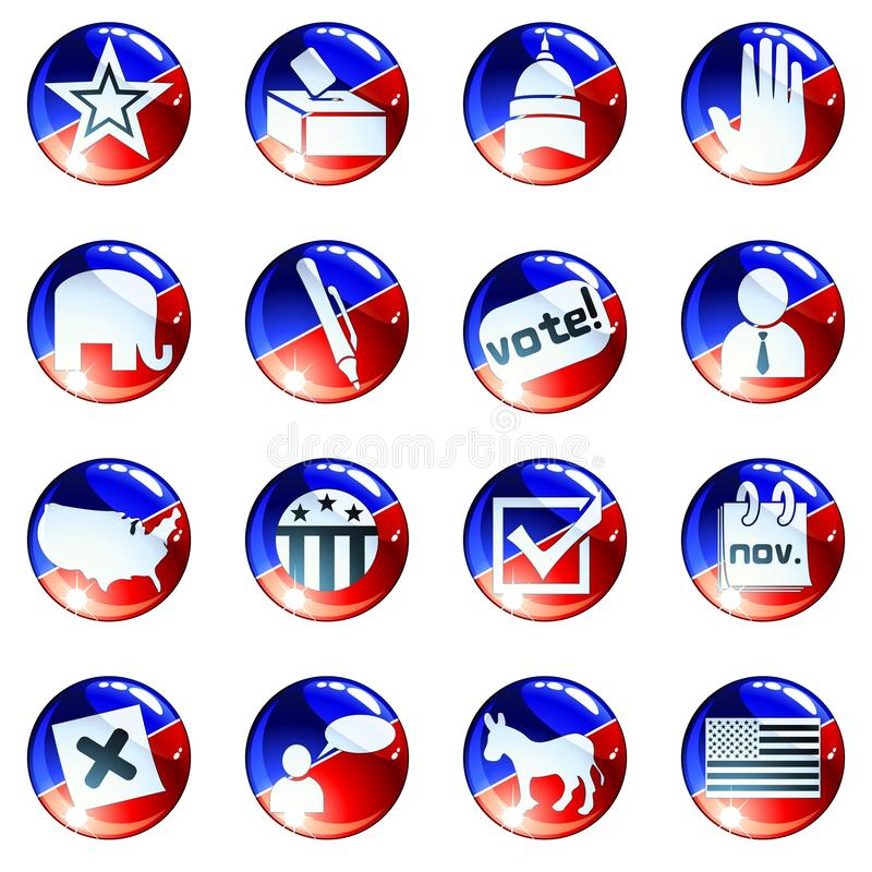 Free Set Of Red White And Blue Election Icons Stock Image - 16312681