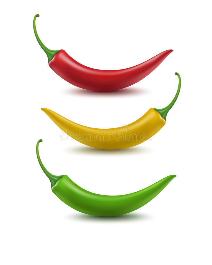 Free Set Of Red Yellow Green Hot Chili Pepper Isolated On White Background Stock Image - 75550471