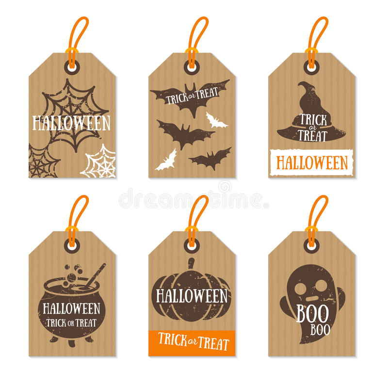 Free Set Of Retro Halloween Gift Tags Cardboard Texture Stock Images - 77773634