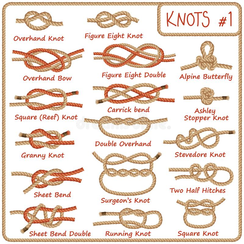 Free Set Of Rope Knots, Hitches, Bows, Bends Royalty Free Stock Photos - 108107678