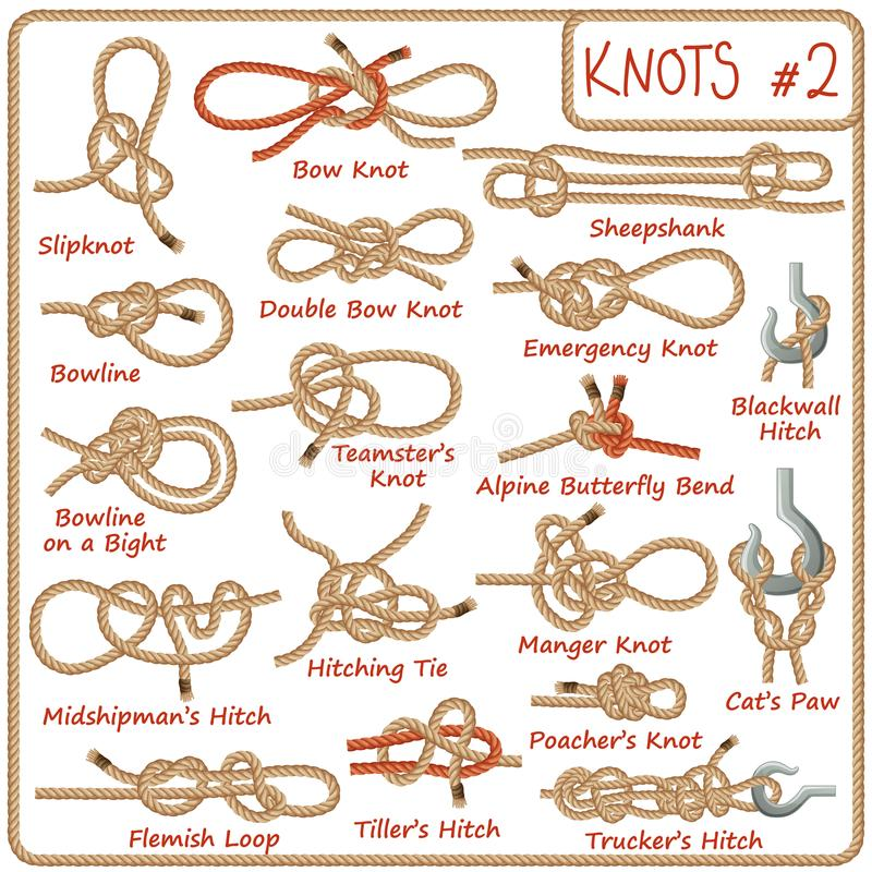 Free Set Of Rope Knots, Hitches, Bows, Bends Stock Photography - 108107962