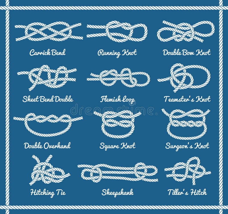 Free Set Of Rope Knots, Hitches, Bows Bends Royalty Free Stock Images - 87137349