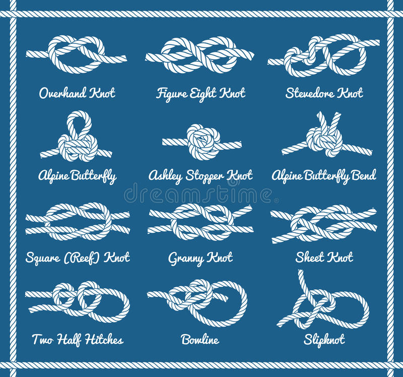 Free Set Of Rope Knots, Hitches, Bows Bends. Part 1 3 Royalty Free Stock Photos - 87132618