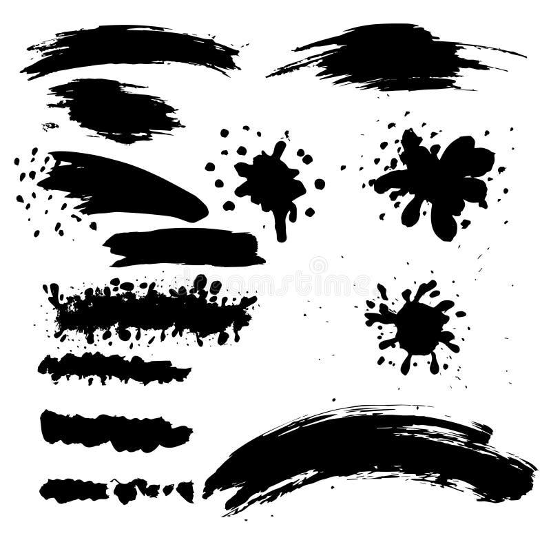 Free Set Of Rough Inky Brush Strokes. Stock Image - 151462661