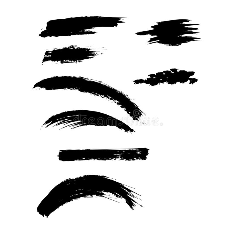 Free Set Of Rough Inky Brush Strokes. Stock Images - 151462664
