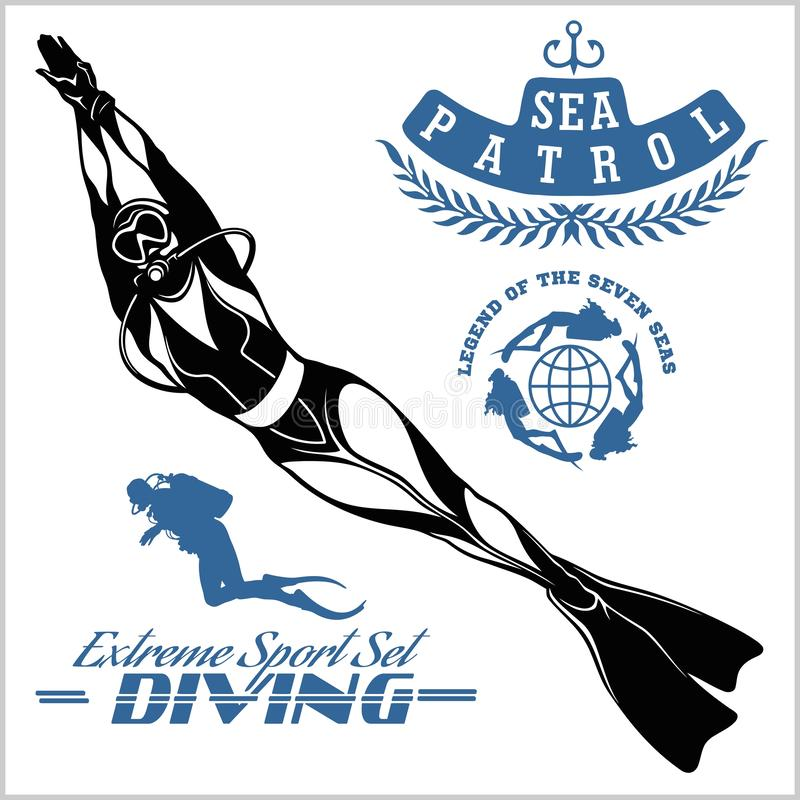 Free Set Of Scuba Diver Silhouette And Diving Labels Stock Photo - 144660100
