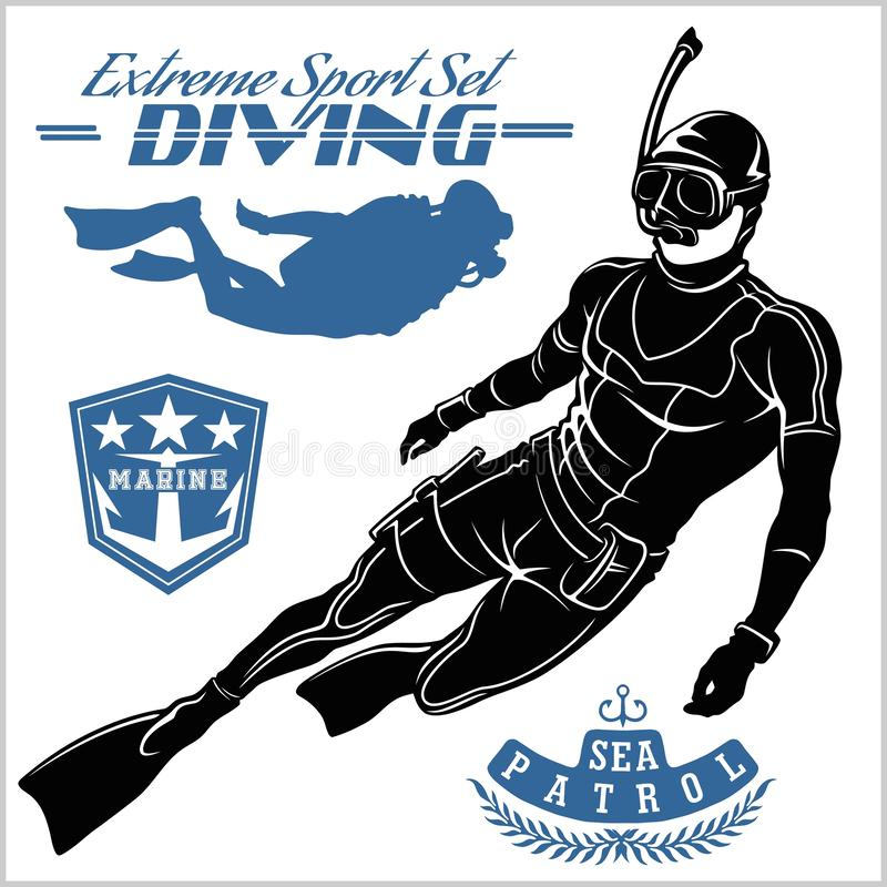 Free Set Of Scuba Diver Silhouette And Diving Labels Royalty Free Stock Photos - 144660108