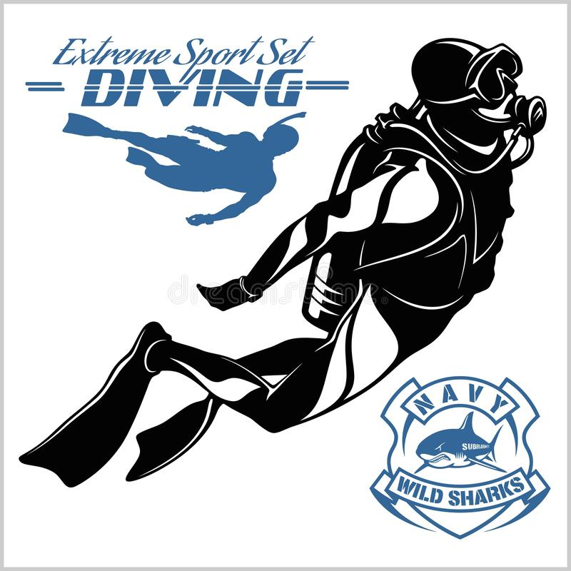 Free Set Of Scuba Diver Silhouette And Diving Labels Stock Photos - 144660123