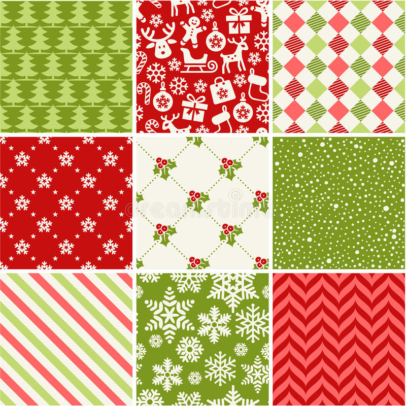 Free Set Of Seamless Christmas Patterns Royalty Free Stock Photos - 45833298