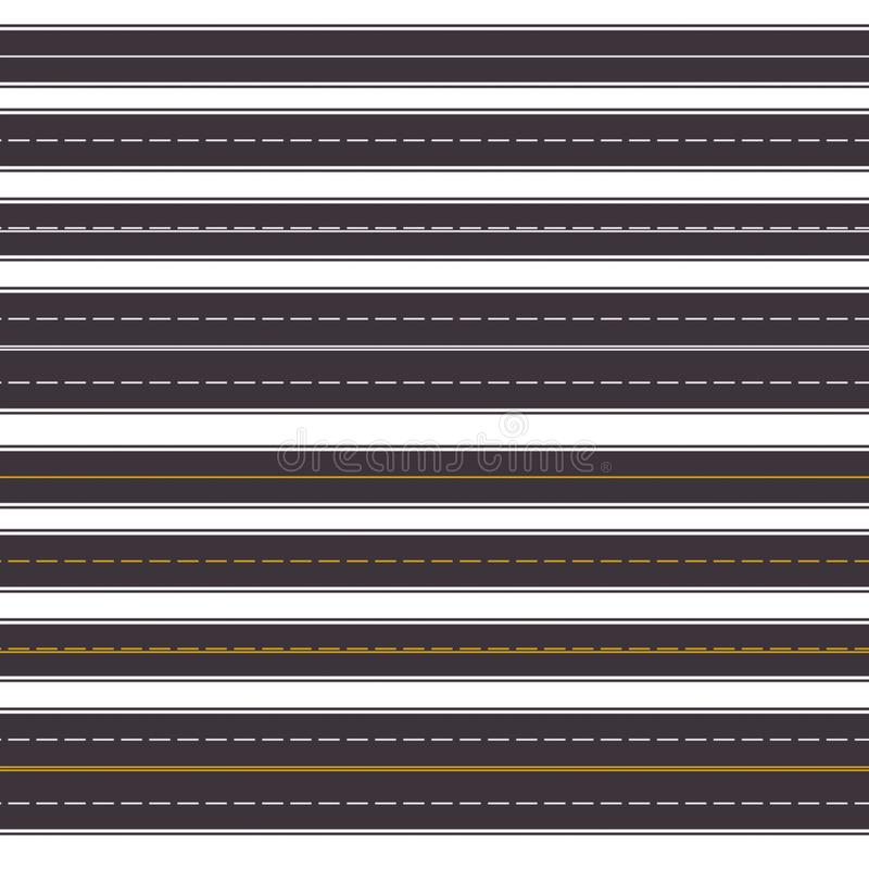 Free Set Of Seamless Horizontal Highways. Top View Of Straight Asphalt Roads Isolated On White Background. Road Seamless Vector Patter Royalty Free Stock Image - 121678616