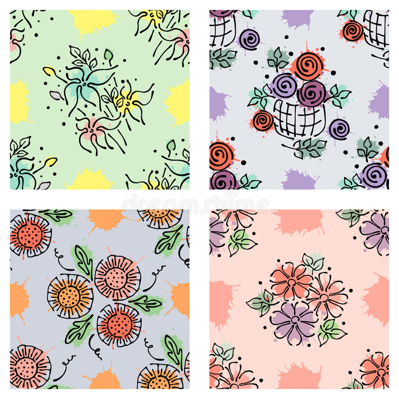 Free Set Of Seamless Vector Hand Drawn Floral Patterns, Endless Backgrounds Royalty Free Stock Photo - 91445595