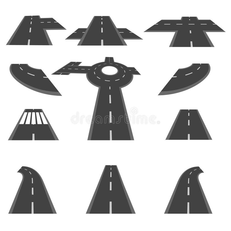Free Set Of Sections Of Road And The Roundabout Intersections In Different Perspective. Illustration Stock Photo - 76772070
